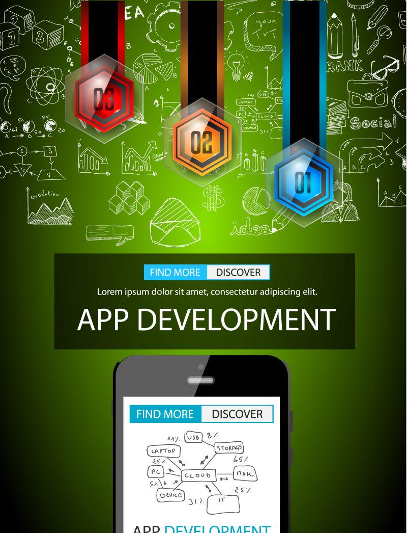 应用开发概念矢量背景