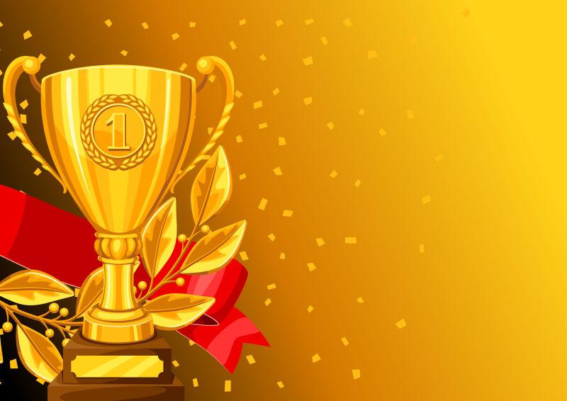 矢量的金色奖杯插图设计