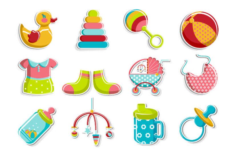 抽象矢量卡通婴儿玩具图标设计