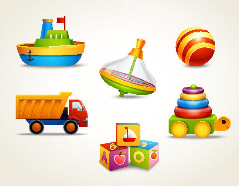 创意矢量儿童玩具平面插图