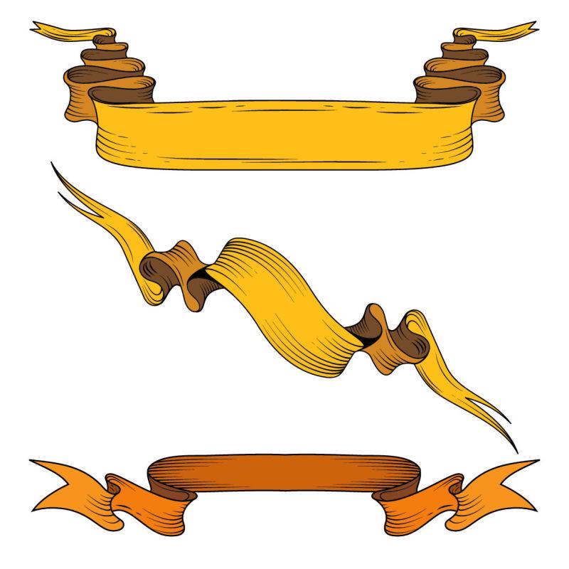 矢量的黄色丝带插图设计
