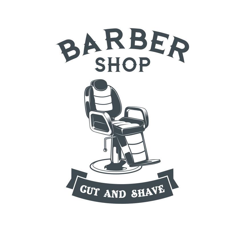 矢量老式理发店主题标签平面设计