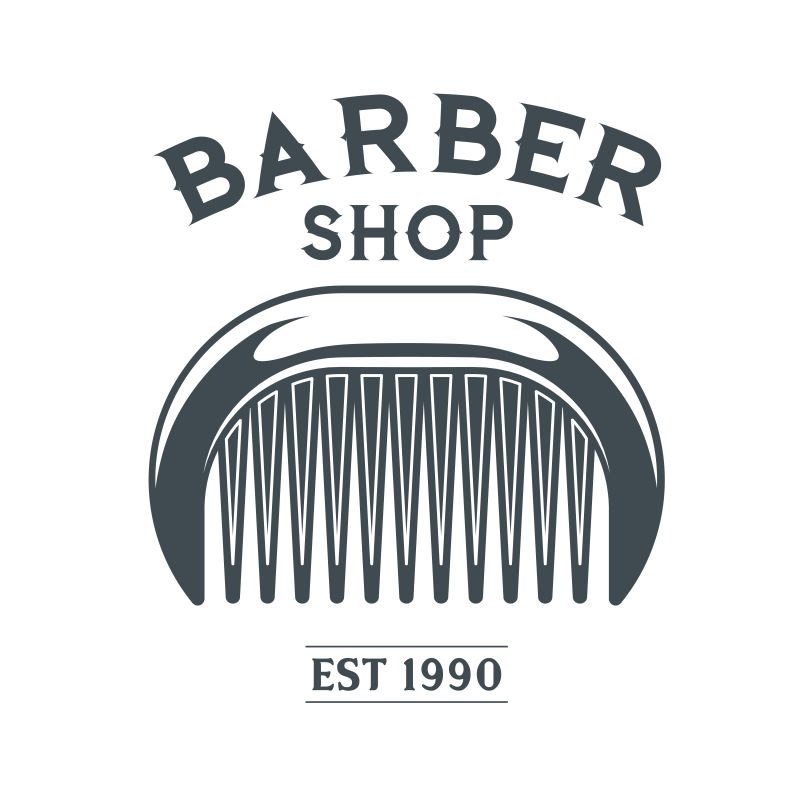 矢量复古梳子元素的平面理发店标签设计