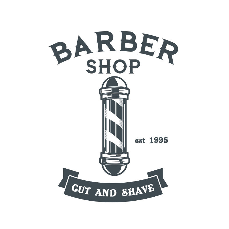 抽象矢量老式理发店主题标签平面设计