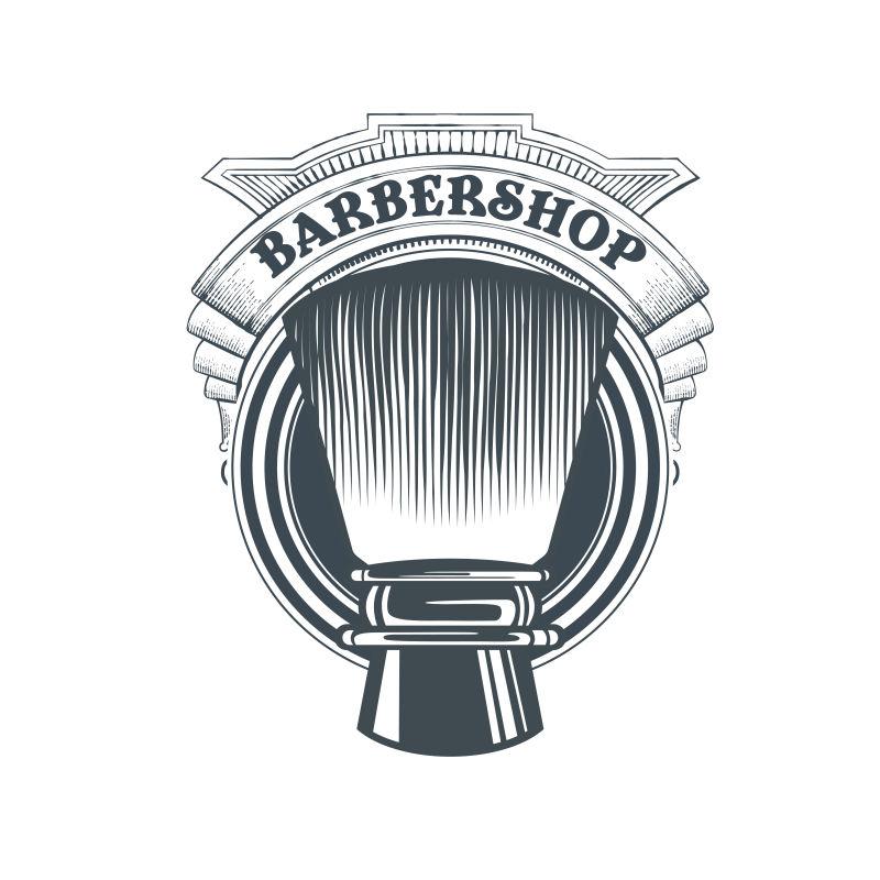 矢量老式经典理发店标签平面设计