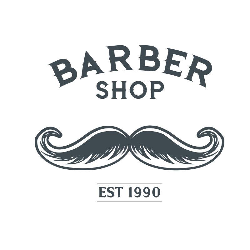 矢量胡子元素的老式理发店标签设计