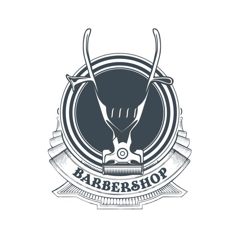 创意矢量老式经典理发店主题标签设计
