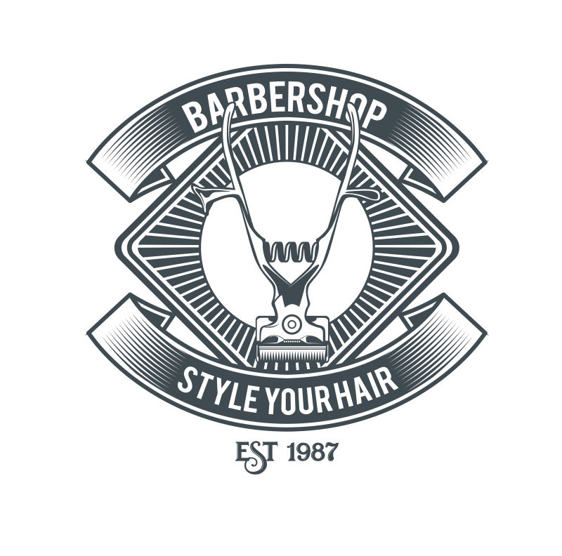 矢量复古理发店创意标签设计