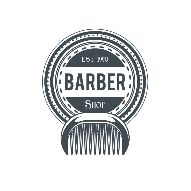 抽象矢量梳子元素的理发店标签设计