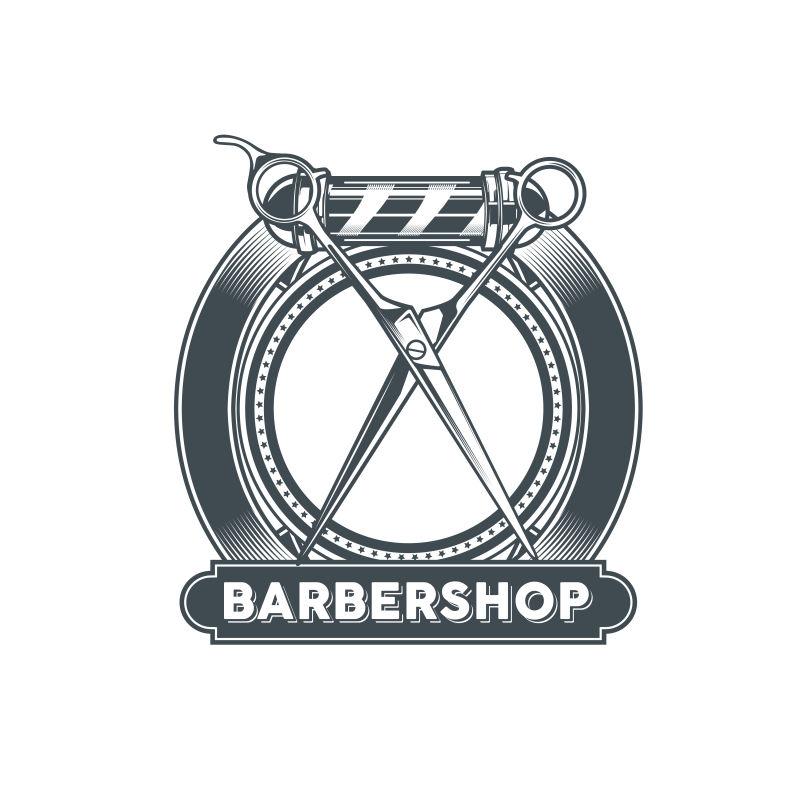 矢量复古理发店标签创意设计