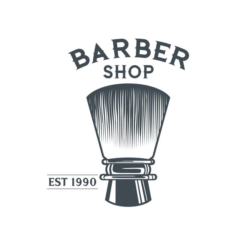 矢量抽象老式经典理发店标签设计