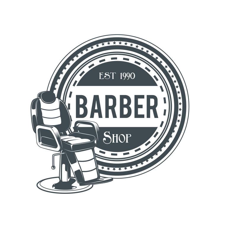 矢量老式理发店主题标签设计