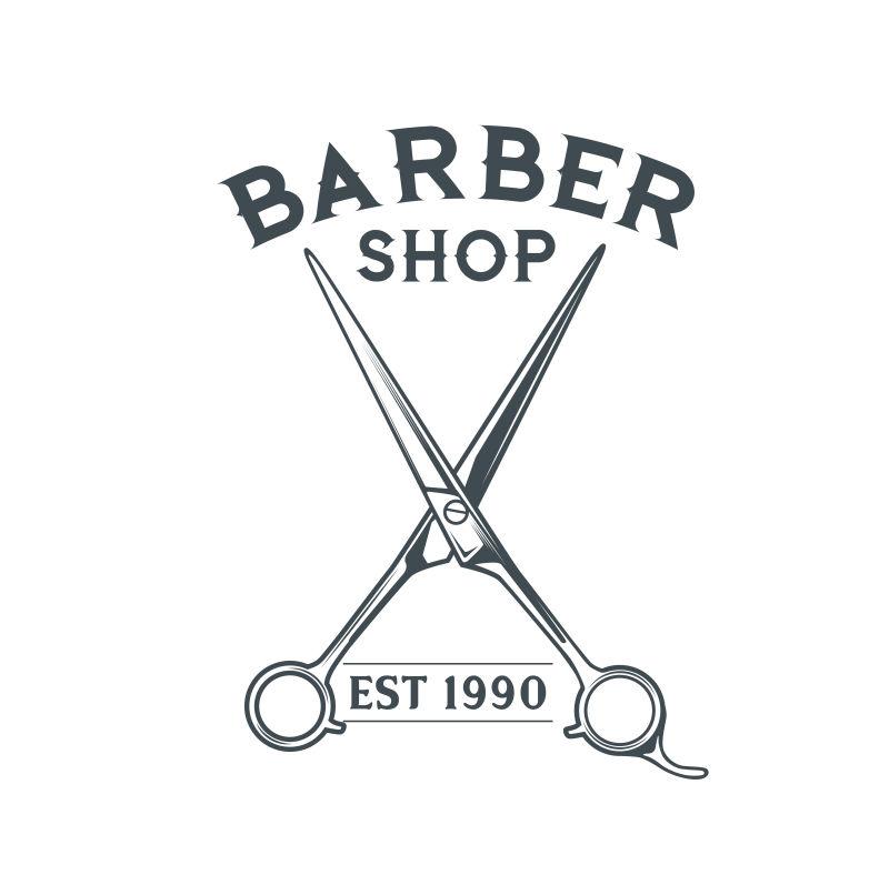 矢量抽象剪刀元素理发店标签设计