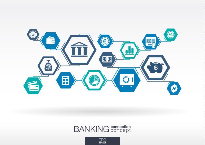银行网络。六边形抽象背景