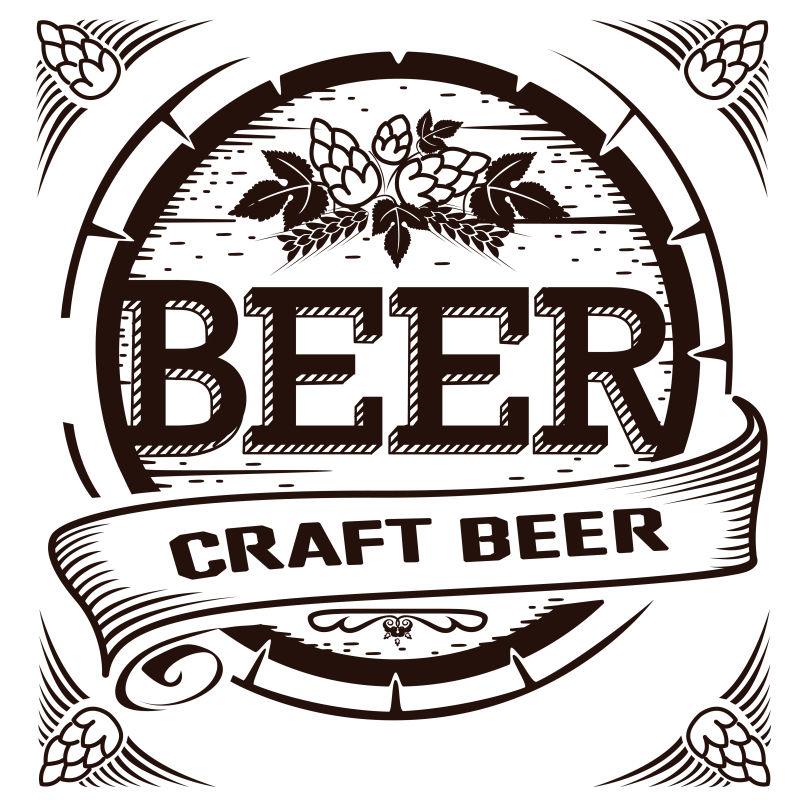 创意矢量复古风格的啤酒平面标签