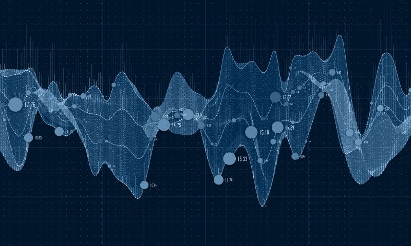 矢量蓝色波形数据背景