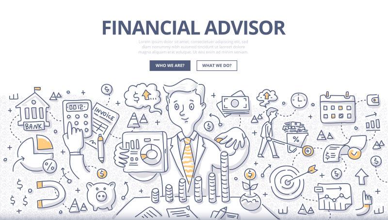 抽象矢量现代财务顾问主题的涂鸦设计插图