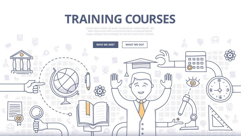 创意矢量培训课程主题的涂鸦设计插图
