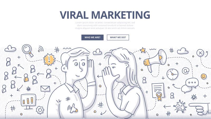 创意矢量病毒主题的涂鸦设计插图