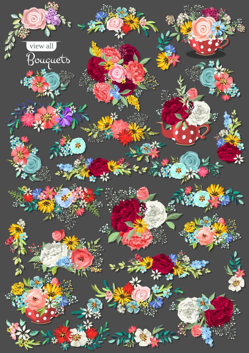 抽象矢量美丽花卉装饰元素