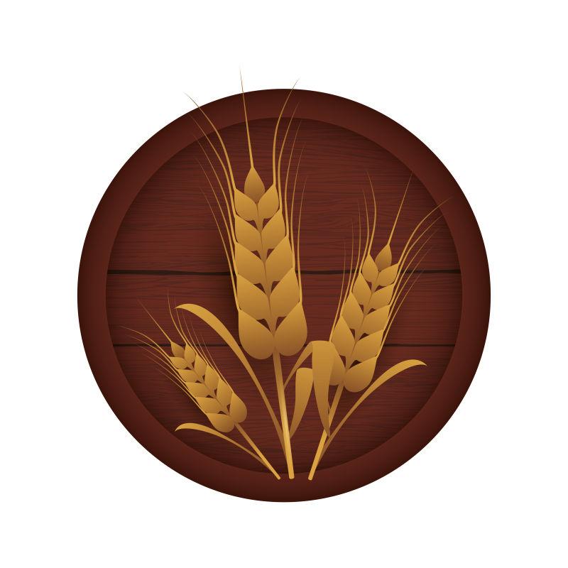 抽象矢量稻穗元素的啤酒节标志设计