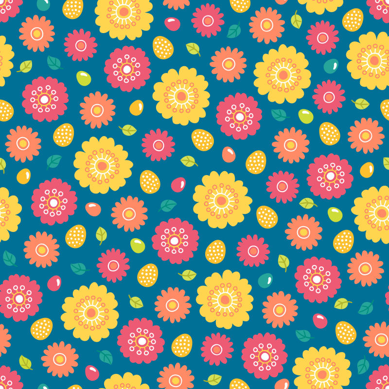 矢量抽象彩色花卉元素无缝背景
