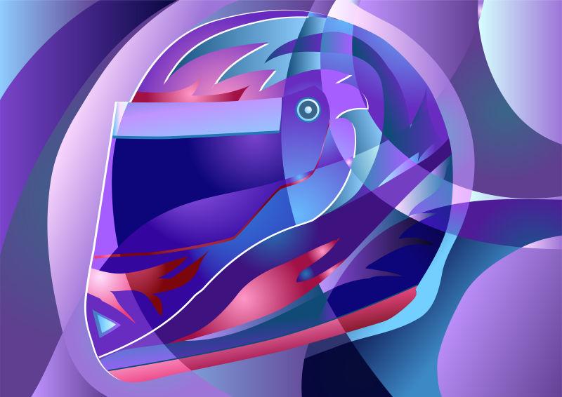 矢量头盔元素的现代紫色抽象无缝背景