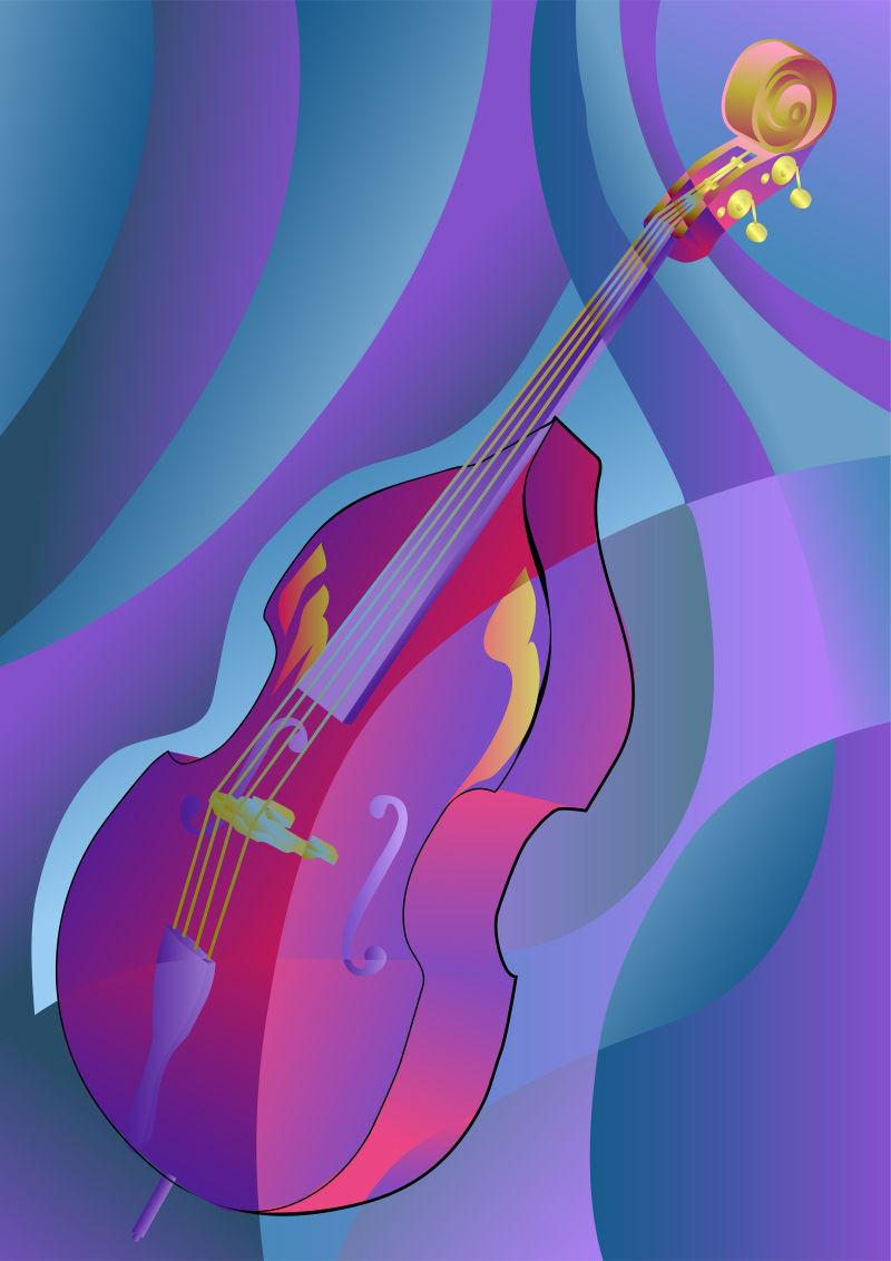 抽象矢量提琴元素的紫色无缝背景