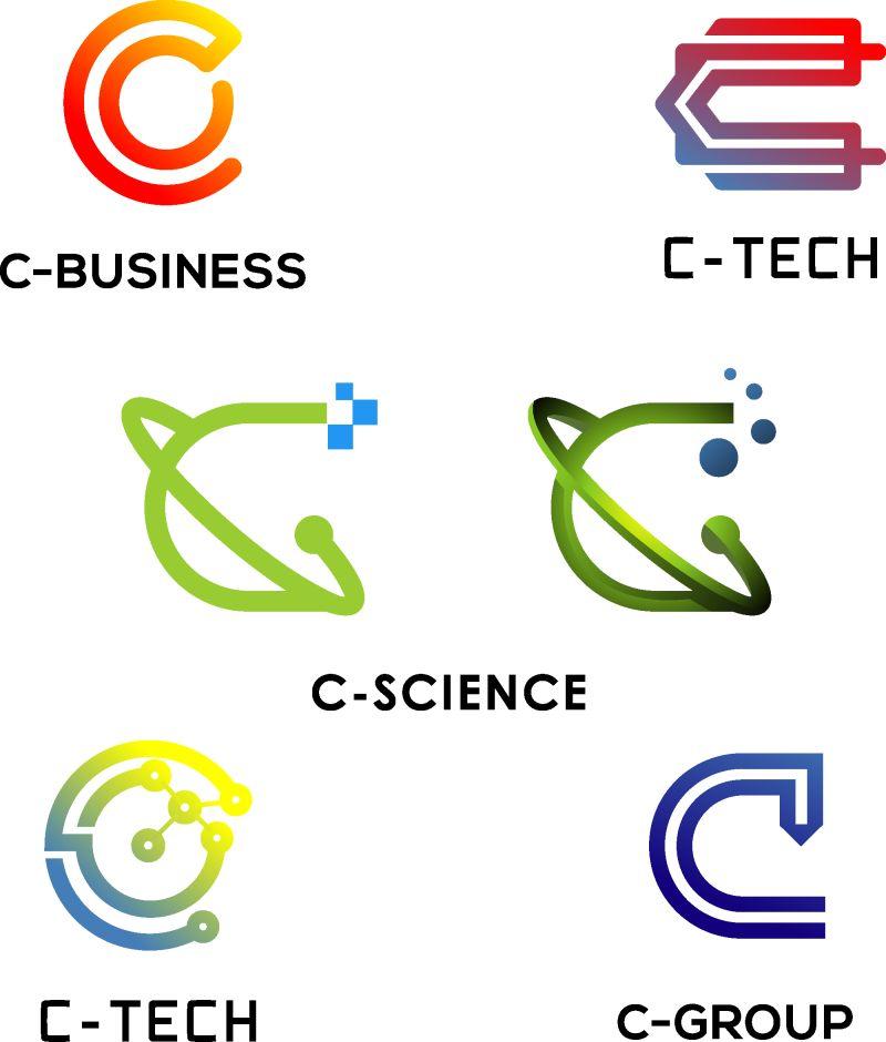 抽象矢量现代彩色几何线性标志设计