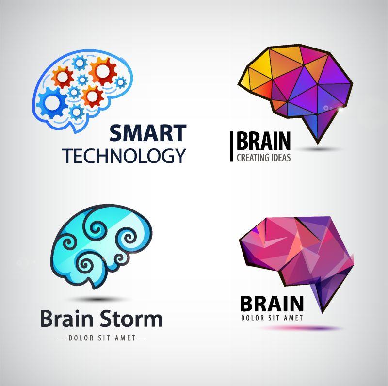 抽象矢量彩色几何风格的大脑主题标志设计