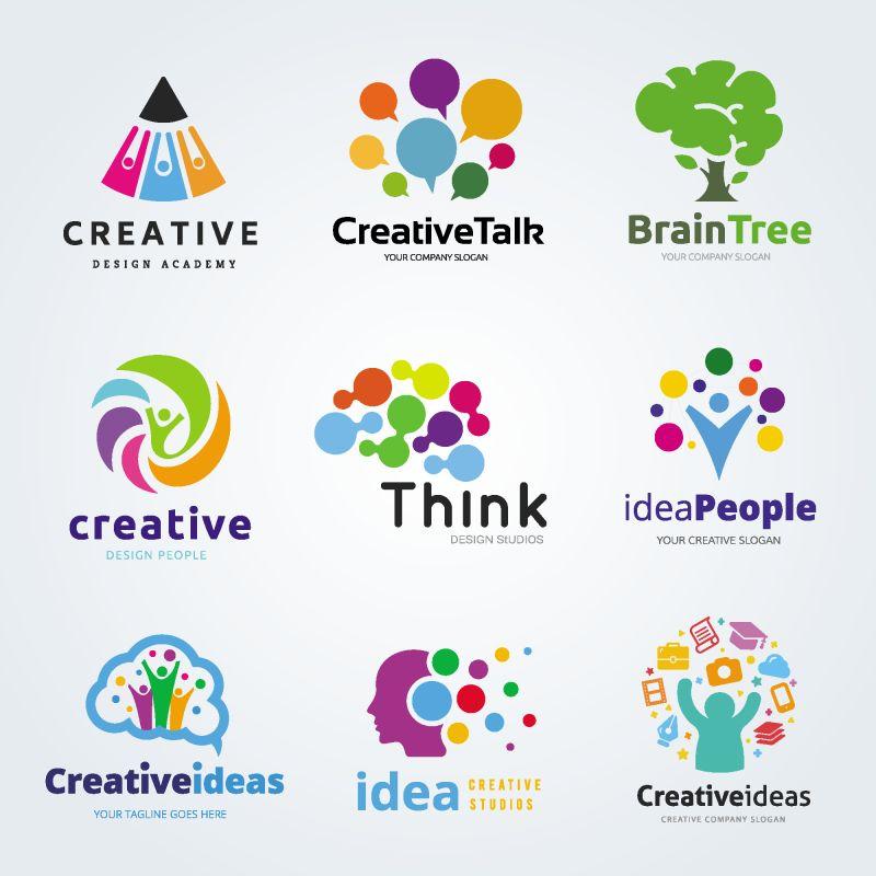 创意矢量现代彩色树元素标志设计
