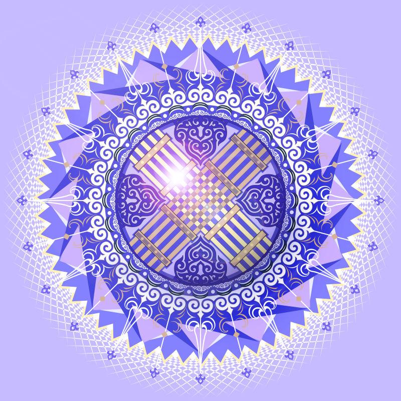 民族风格的无缝纹理-圆形观赏载体-东方蔓藤花纹图案背景-矢量图明亮的颜色