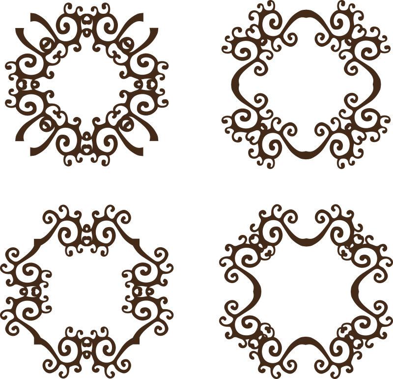 抽象矢量复古花纹装饰设计元素