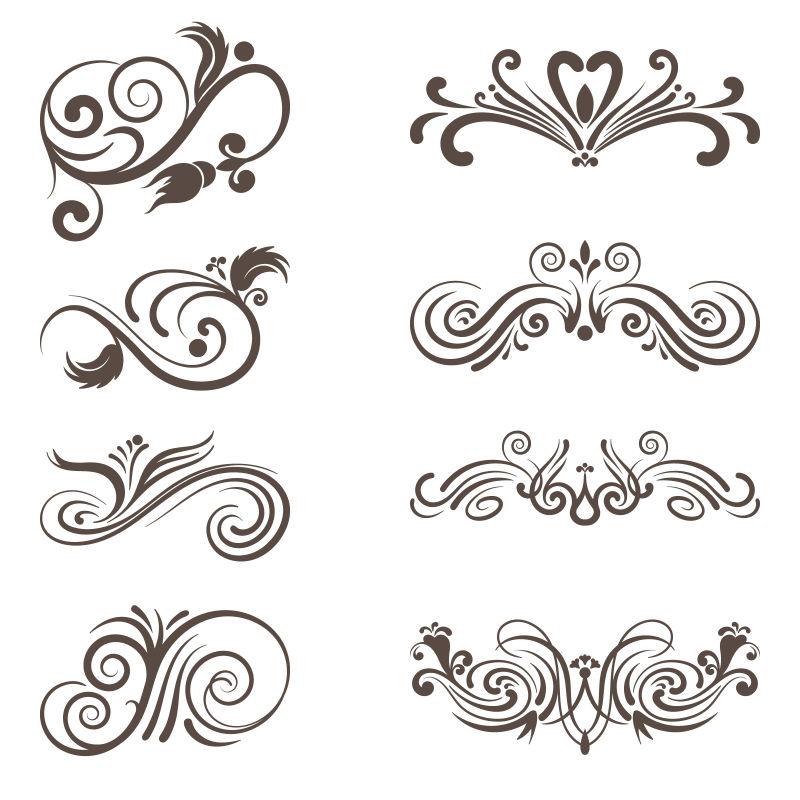 创意矢量古典花卉装饰边框元素