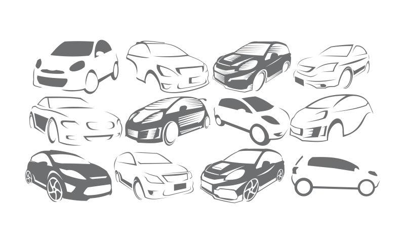 抽象矢量现代汽车元素的标志设计
