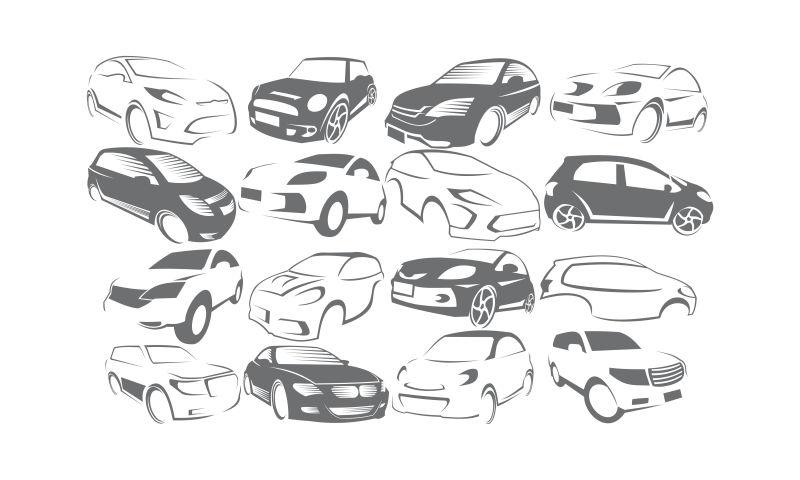 创意矢量现代汽车设计插图