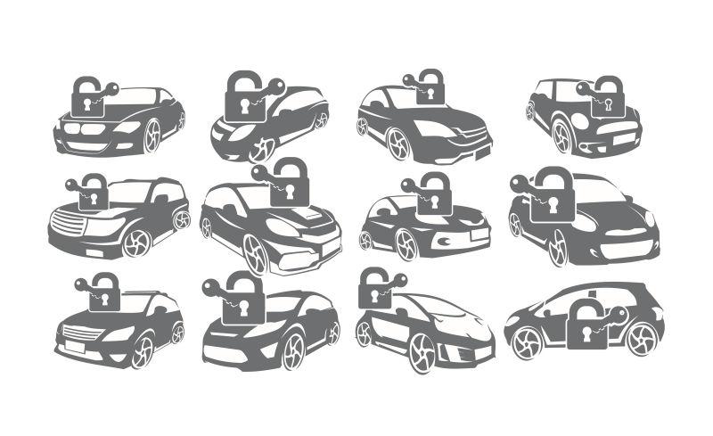 创意矢量汽车安全锁概念标志设计