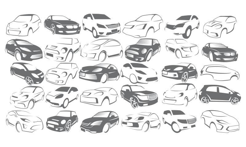 创意矢量现代汽车线性标志设计