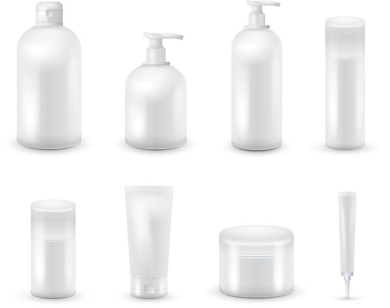 矢量白色的化妆品包装瓶设计