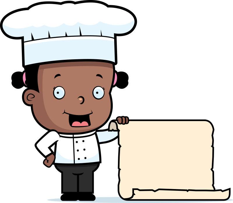 矢量拿着纸张的卡通厨师