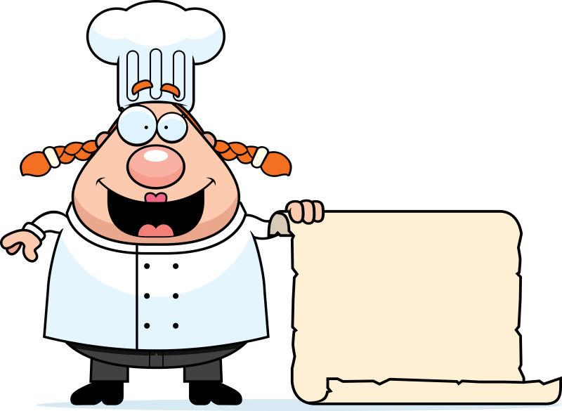 矢量拿着空白纸张的卡通厨师