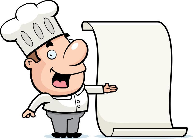 矢量指着空白纸张的卡通男性厨师
