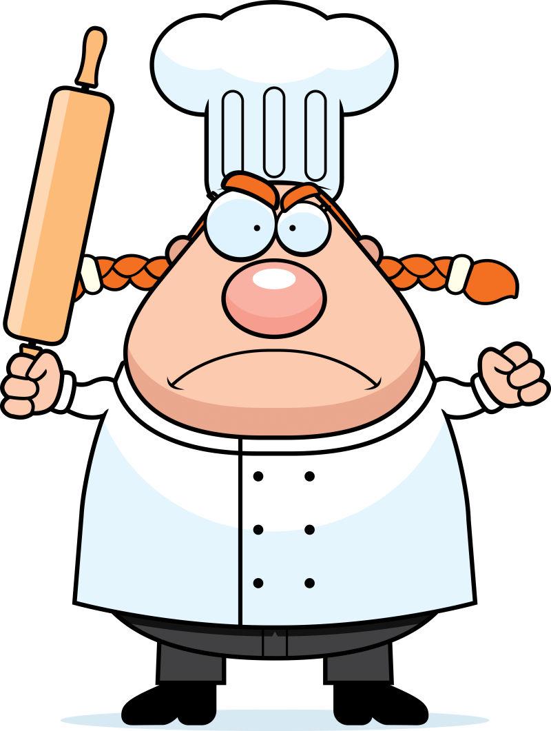 矢量拿着擀面杖的卡通厨师