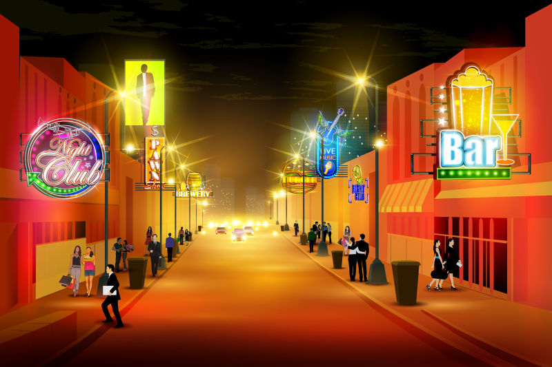 矢量城市夜生活