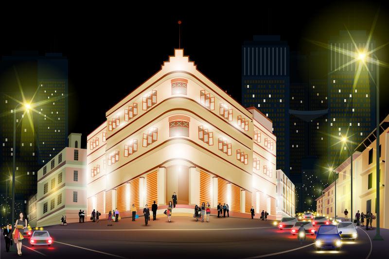 矢量繁忙的城市建筑夜生活