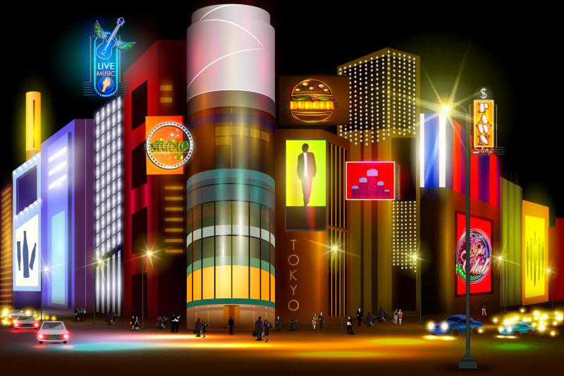 矢量繁忙的城市夜生活