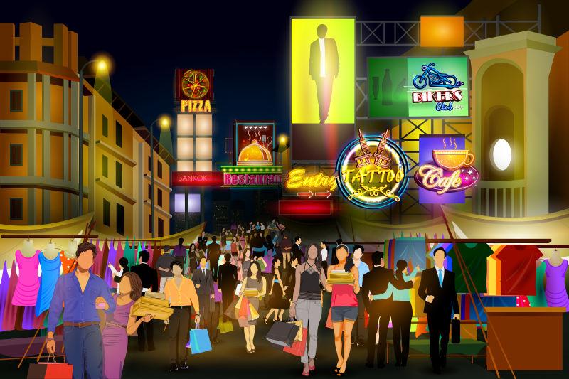 矢量现代热闹的城市夜生活