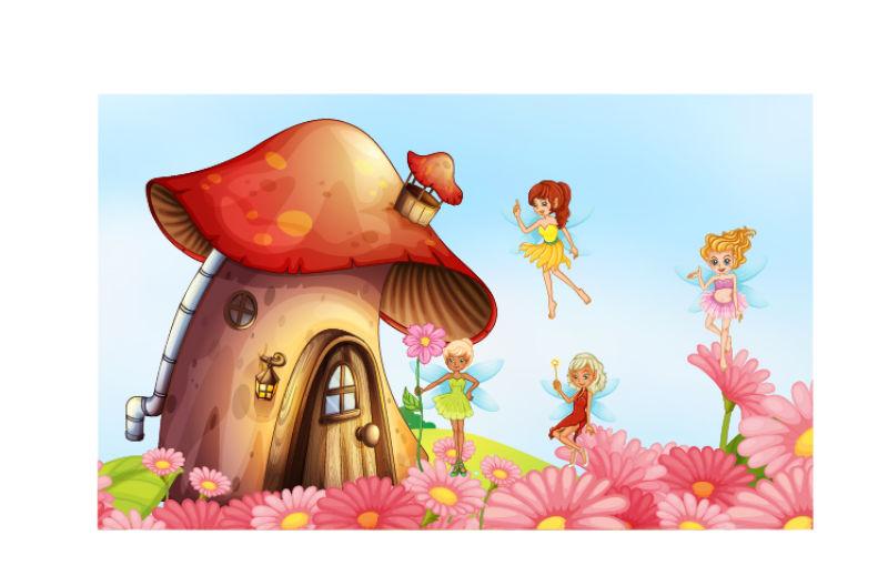 创意矢量梦幻卡通蘑菇屋插图