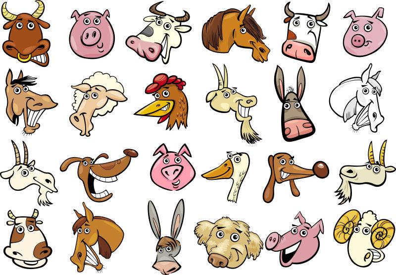创意卡通动物头像插图矢量