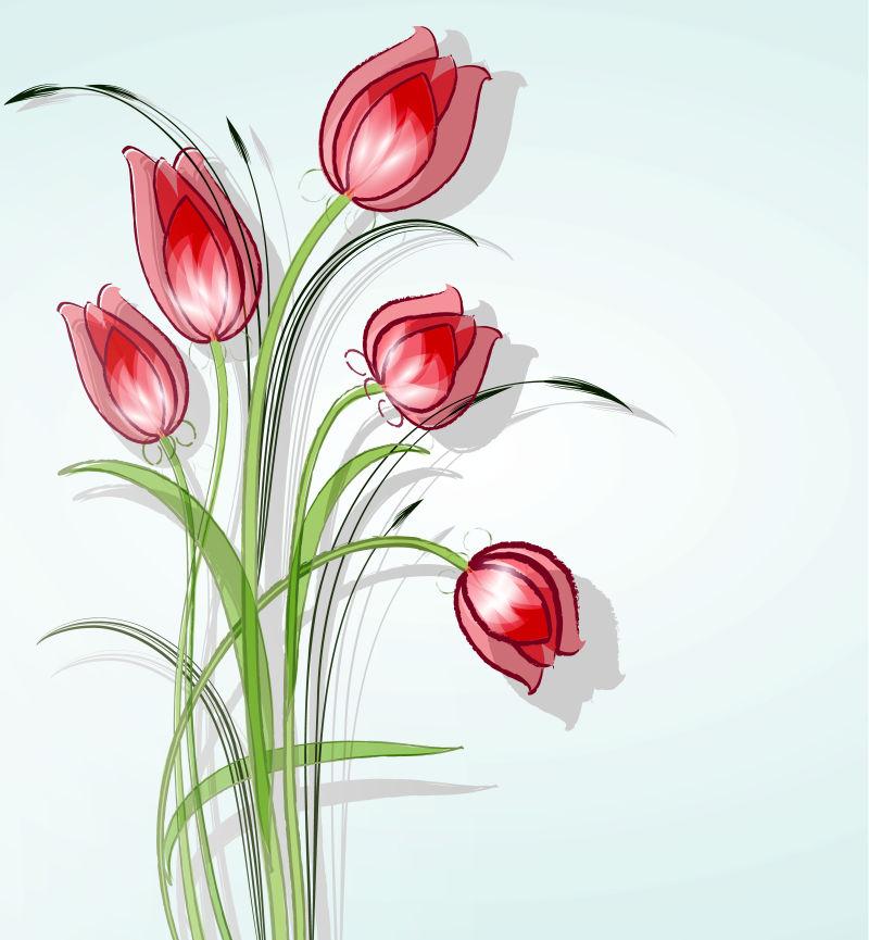 创意矢量美丽红色花卉元素的背景